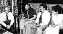 Отляво надясно: Димитър Злататарски, проф. Анчо Калоянов, проф. Димитър Чолаков и Теодора Астро